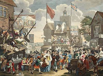 Falling Drawing - Southwark Fair, 1733, Illustration by William Hogarth