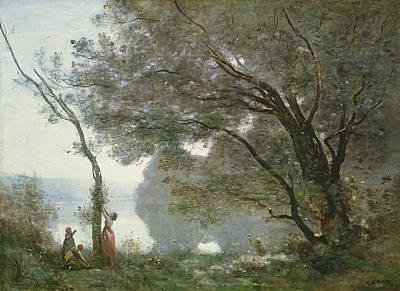 Edge Painting - Souvenir De Mortefontaine by Jean Baptiste Camille Corot