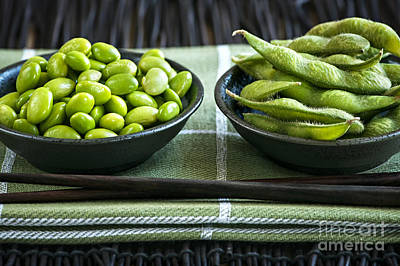 Soy Beans In Bowls Print by Elena Elisseeva
