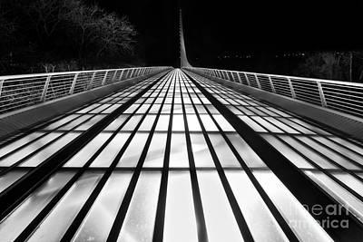 Space Bridge - The Unique Sundial Bridge In Redding California In Black And White. Print by Jamie Pham