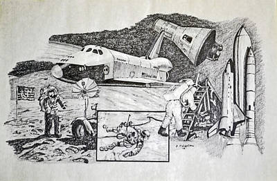 Space Ships Drawing - Space Exploration Collage by James Pinkerton
