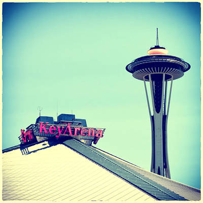 Space Needle And Key Arena Print by Tanya Harrison