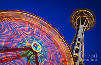 Ferris Wheel Night Photograph - Space Needle And Wheel by Inge Johnsson