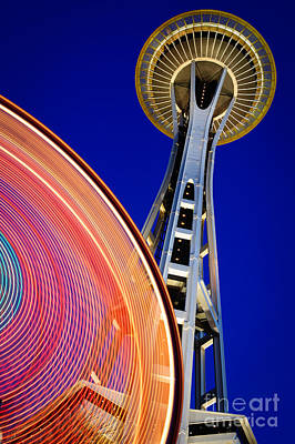 Ferris Wheel Night Photograph - Space Needle Color Wheel by Inge Johnsson