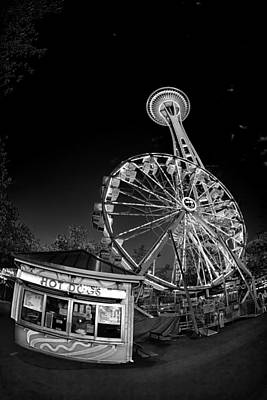 Hot Dog Digital Art - Space Needle Fights The End Of The World by Scott Campbell