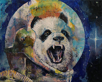Space Panda Print by Michael Creese