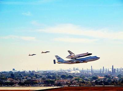Space Shuttle Endeavour Flyby Print by JD Rodriguez