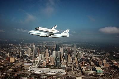 Texas Cities Photograph - Space Shuttle Endeavour Piggyback Flight by Nasa/sheri Locke