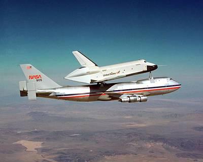 Space Shuttle Enterprise Piggyback Flight Print by Nasa