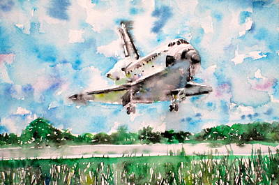 Space Ships Painting - Space Shuttle Landing by Fabrizio Cassetta