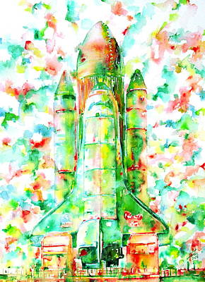 Space Ships Painting - Space Shuttle - Launch Pod by Fabrizio Cassetta