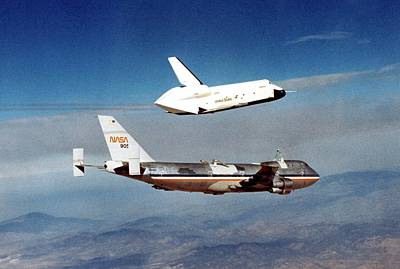 747 Photograph - Space Shuttle Prototype Testing by Nasa