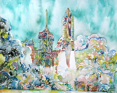 Space Ships Painting - Space Shuttle Taking Off Watercolor Painting by Fabrizio Cassetta