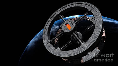 Rendition Digital Art - Space Station 5 In Earth Orbit by Rhys Taylor