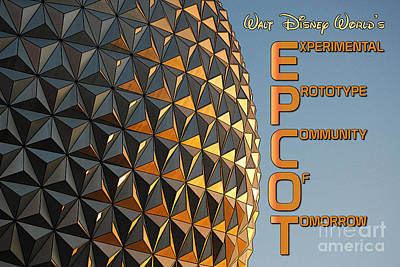 Disney Photograph - Spaceship Earth Sunset Profile Epcot Walt Disney World Poster Edges  by Shawn O'Brien