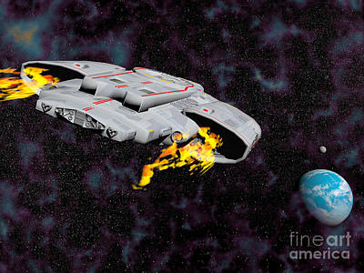Interplanetary Space Digital Art - Spaceship With Afterburners Engaged by Elena Duvernay