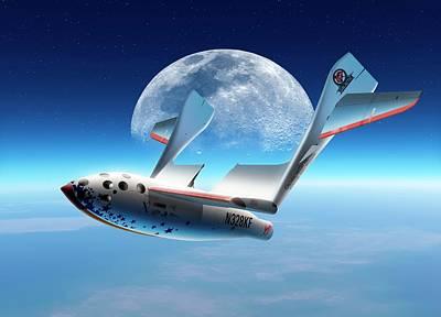 Spaceshipone In Orbit Print by Detlev Van Ravenswaay