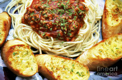 Spaghetti And Garlic Toast 4 Print by Andee Design