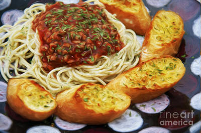 Spaghetti And Garlic Toast 6 Print by Andee Design