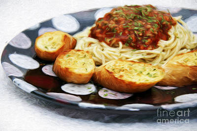 Spaghetti And Garlic Toast 2 Print by Andee Design