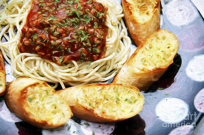 Spaghetti And Garlic Toast 5 Print by Andee Design