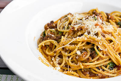 Spaghetti Noodles With Meat Sauce Print by Tosporn Preede