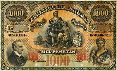 Spain Banco De Espana 1000 Pesetas 1876 Print by Vintage Printery
