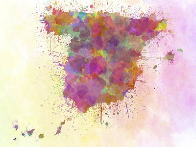 Backdrop Digital Art - Spain Map Watercolor Style Splash by Pablo Romero