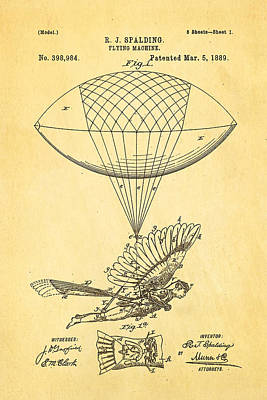 Mad Men Photograph - Spalding Flying Machine Patent Art 1889 by Ian Monk