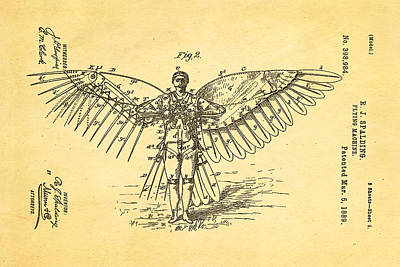 Mad Men Photograph - Spalding Flying Machine Patent Art  2 1889 by Ian Monk