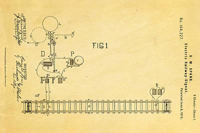 1875 Photograph - Spang Railway Signal Patent Art 1875  by Ian Monk