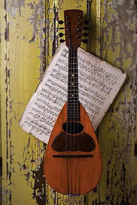 Old Sheet Music Photograph - Spanish Mandolin by Garry Gay