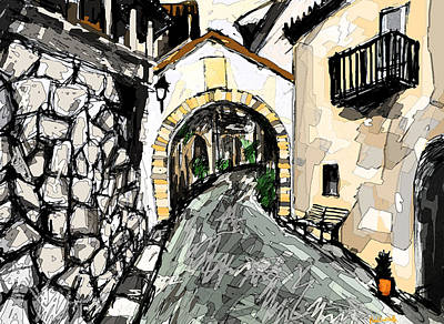 Spain Drawing - Spanish Village/ La Aldea by Paul Sutcliffe