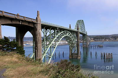 Spanning The Yaquina Bay Print by Christiane Schulze Art And Photography