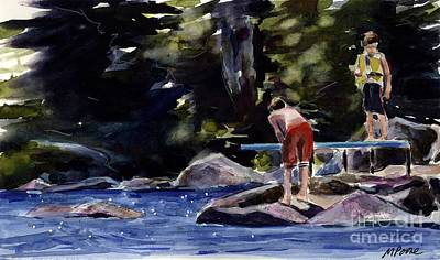 Diving Board Painting - Sparkle Lake by Molly Poole
