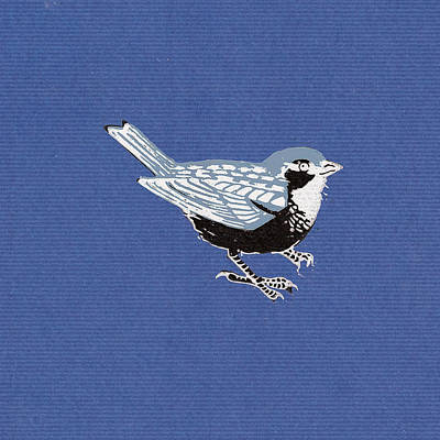 Sparrow, 2013 Woodcut Print by Nat Morley