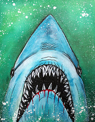 Shark Painting - Spawn Of Jaws by Laura Barbosa