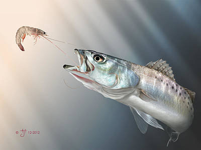 Trout Painting - Speck Snack by Hayden Hammond