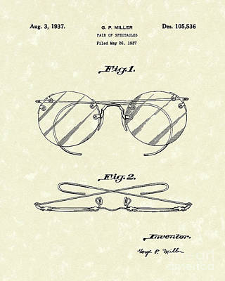 Patent Artwork Drawing - Spectacles 1937 Patent Art by Prior Art Design