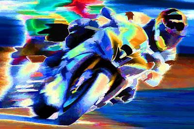 Racetrack Digital Art - Speed by Agustin Uzarraga