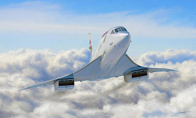 Airliners Digital Art - Speeding Above The Clouds by Dale Jackson