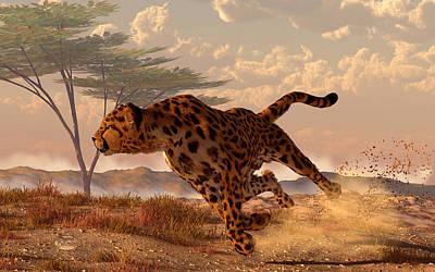 Cheetah Digital Art - Speeding Cheetah by Daniel Eskridge
