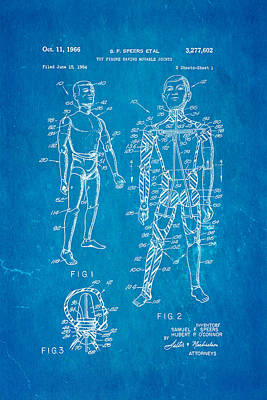 Doll Photograph - Speers G I Joe Action Man Patent Art 1966 Blueprint by Ian Monk