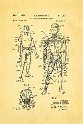 Doll Photograph - Speers G I Joe Action Man Patent Art 1966 by Ian Monk