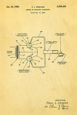 Spencer Microwave Patent Art 1950  Print by Ian Monk