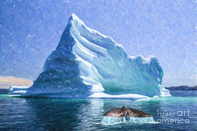 Whale Digital Art - Sperm Whale Fluke In Front Of Iceberg by Liz Leyden