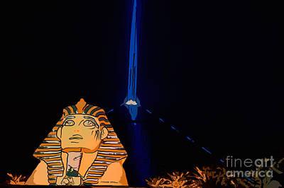 Multi-color Digital Art - Sphinx And Luxor Hotel Beam Las Vegas - Pop Art Style by Ian Monk