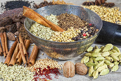 Cassia Photograph - Spices On A Rustic Board by Colin and Linda McKie