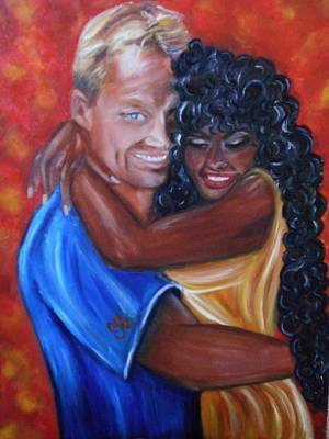 Romance Painting - Spicy - Interracial Lovers Series by Yesi Casanova