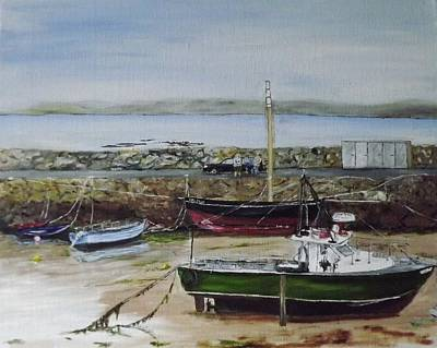 Spiddal Painting - Spiddal Harbour by Dominic Mc Namara